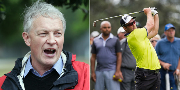 Left, Phil Goff and, right, Ryan Fox in action during the second round of the NZPGA Championship at the Remuera Golf Club.