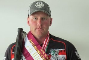 Dannevirke Clay Target Club member Mark Johnston wearing the High Gun sash and medals he won at the Norfolk Island International Clay Target Championships this month.