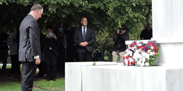 Loading Prime Minister John Key lays a wreath to remember those killed in the 2011 Christchurch earthquake. Photo / Jessica McCarthy