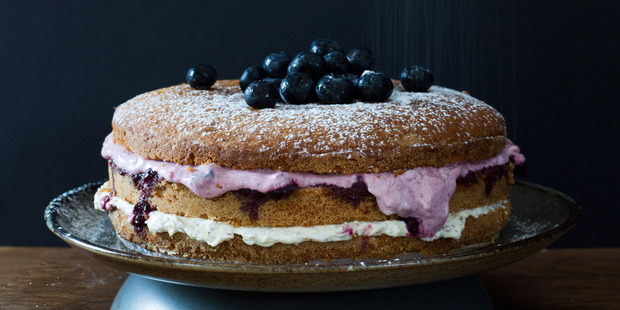 Warren Elwin's layer cake using Jo's basic cake recipe. Photo / Bite magazine