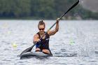 Kayaker Lisa Carrington on her way to the K1 500m title at Lake Karapiro. Photo / Jamie Troughton