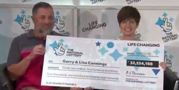 Lisa Cannings (right) and her retired teacher husband Gerry (Left) went public about their Lotto rollover win today. Photo: Screengrab from Daily Mail video.