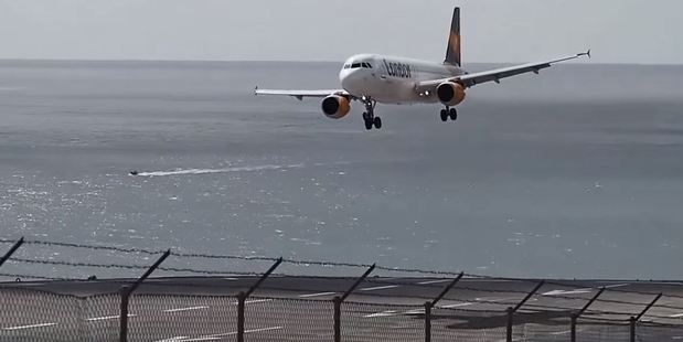 Aborted landings are not unusual at Madeira Airport as the crosswinds often cause problems for pilots. Photo / YouTube, Ricardo Sousa