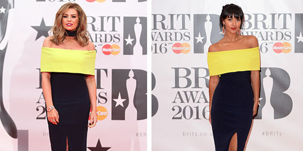 Seeing double: Jessica Wright and Maya Jama find themselves in a red carpet goer's worst nightmare. Photos / Getty Images