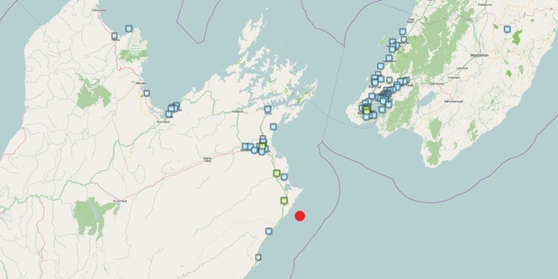 The red dot is the epicentre of the earthquake, the other marks show where people reported feeling it. Photo / GeoNet