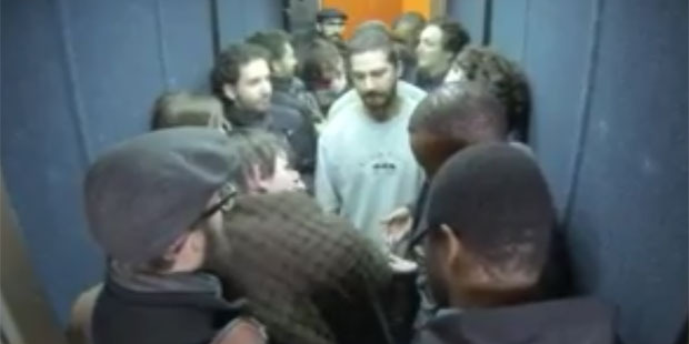 Shia LaBeouf greets visitors during his #ELEVATE performance arts piece. Photo/YouTube
