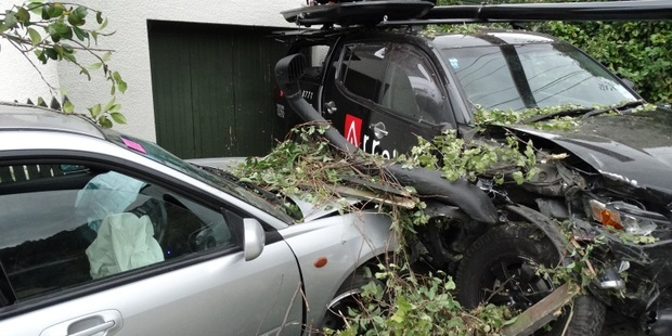 One the drink-drivers smashed through a garden wall and shrubbery before hitting a ute. Photo / Guy Williams