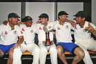 Steve Smith and his Australian teammates celebrate the series win over New Zealand. Photo / Getty