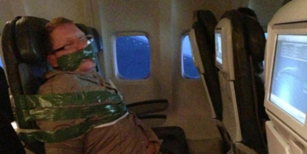 In 2013, a man became so drunk on a flight from Iceland to New York that he was restrained by fellow passengers. Photo / Tumblr, Andy Ellwood