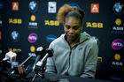 Serena Williams addresses the media after her shock loss to Madison Brengle. Photo / Dean Purcell