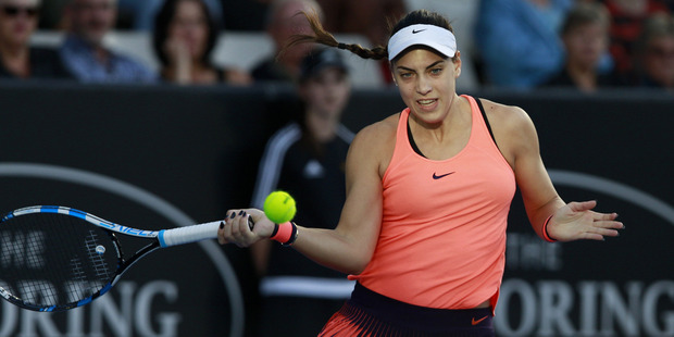 Ana Konjuh plays her semi final match against Julia Goerges at the ASB Classic. Photo / Nick Reed