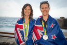 New Zealand's Jo Aleh and Polly Powrie. Photosport