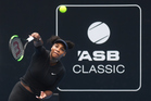 Serena Williams during a training session on centre court ahead of the ASB Classic. Photosport