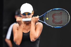 Australia's Arina Rodionova bites her racquet during her singles match on the opening day of the ASB Classic. Photo/Photosport