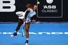 Serena Williams in action during her first round singles match at the ASB Classic. Photosport