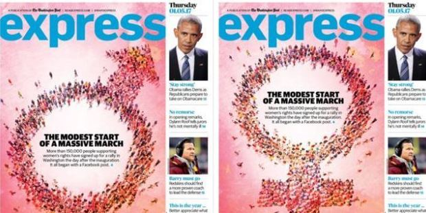 "The Washington Post Express ""erroneously published"" the male symbol instead of the female (right). Photo  / Twitter / @WaPoExpress"