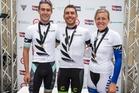 Time trial winners, Hayden McCormick, Mens U23, Bevin Patrick, Mens Elite and Rustle Buchanan, Womens. Photo / Alphapix / John Cowpland