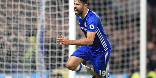 Chelsea's Diego Costa scores during an English Premier League match against Stoke City. Photo / AP