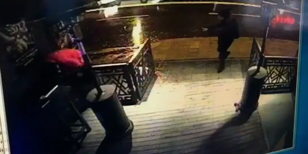 This image taken from CCTV provided by Haberturk newspaper shows the attacker, armed with a long-barrelled weapon, shooting his way into the Reina nightclub. Photo / AP