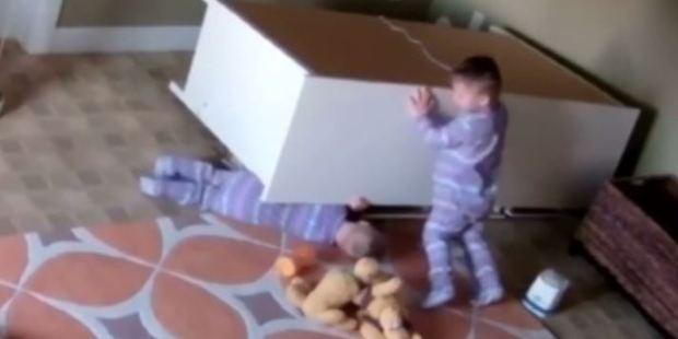 He then decides the best idea is to shove it.