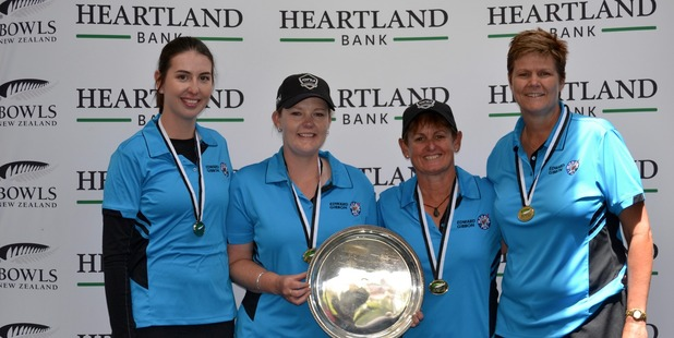 Tayla Bruce, Kirsten Edwards, Val Smith and Jo Edwards celebrate their win. Photo / Supplied