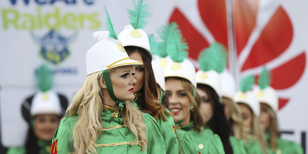 Raiderettes prepare to perform prior to the Canberra Raiders v Gold Coast Titans at GIO Stadium. Photo/Getty Images