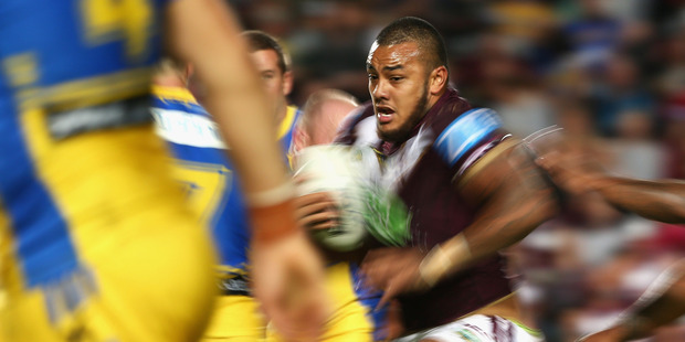 Addin Fonua-Blake of the Sea Eagles runs the ball during the round seven NRL match between the Manly Sea Eagles and Parramatta Eels. Photo/Getty Images