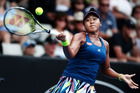 Naomi Osaka plays a forehand in her match against Annika Beck. Photo / Getty Images