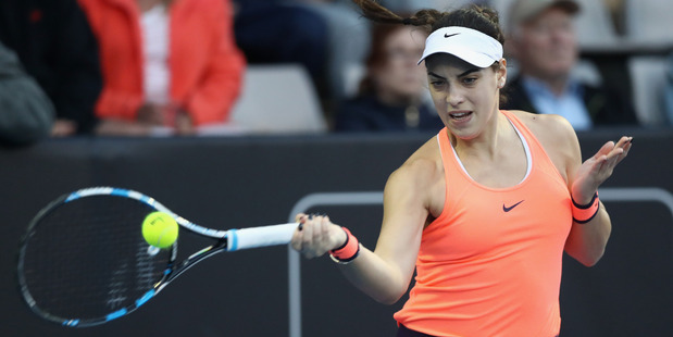 Ana Konjuh plays a return against Yanina Wickmayer of Belguim at the ASB Classic. Photo / Getty Images