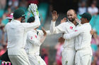 Nathan Lyon of Australia celebrates with his team mates after taking the wicket of Wahab Riaz of Pakistan. Photo / Getty