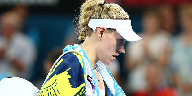 Angelique Kerber leaves the court after lsoing her quarter final match against Elina Svitolina. Photo / Getty Images