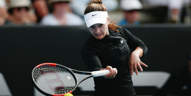 Lauren Davis plays a forehand against Jelena Ostapenko at the ASB Classic. Photo / Getty Images