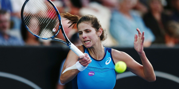 Julia Goerges plays a forehand in her semi final against Ana Konjuh. Photo / Getty Images