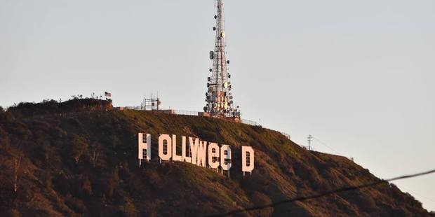 The alteration from Hollywood to Hollyweed echoes a near-identical one made exactly 41 years ago by then-art student Danny Finegood. Photo / Facebook, Yasumasa Tanano