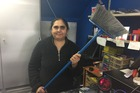 Deyvish Superette owner Bharati Gandhi fought off an armed robber with this broom. Photo / Melissa Nightingale