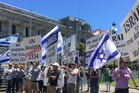 Protesters gathered outside Parliament on Friday, December 30, in support of Israel following the adoption of the UN Resolution 2334. Photo/Melissa Nightingale