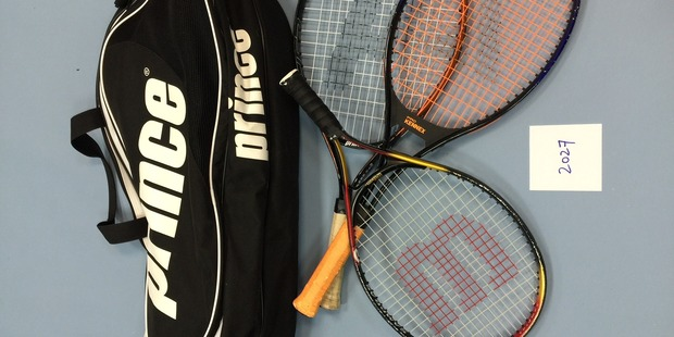 GAME OVER: Some stolen tennis racquets.