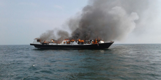 The Zharo Express ferry burns just off Muara Angke port in North Jakarta. 5 people died and many more were rescued. Photo / Supplied
