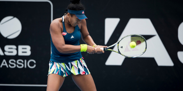 Naomi Osaka (JPN) in action against Annika Beck (GER) this afternoon. Photo / Dean Purcell