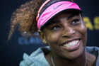 Serena Williams speaks in a press conference after beating Pauline Parmenter. Photo / Jason Oxenham