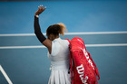 Serena Williams leaves the court after her loss to Madison Brengle. Photo / Dean Purcell