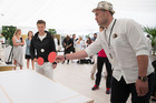 WBO Heavyweight Champion Joseph Parker plays table tennis with Demi Schuurs of the Netherlands at the Moet and Chandon lounge during the ASB Classic. Photo / Nick Reed