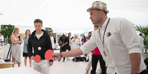 Loading WBO Heavyweight Champion Joseph Parker plays table tennis with Demi Schuurs of the Netherlands at the Moet and Chandon lounge during the ASB Classic. Photo / Nick Reed