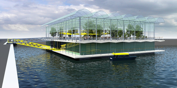 Plans for a floating dairy farm in Rotterdam Photo / Supplied