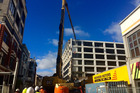 Demolition of Wellington's Reading Cinema carpark. Photo / Katrina Bennett