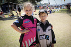 Eava Salt 9, and her 6-year-old brother Jimmy, from Foxton Beach at the Black Caps Beach Cricket at Mount Drury. Photo/Andrew Warner