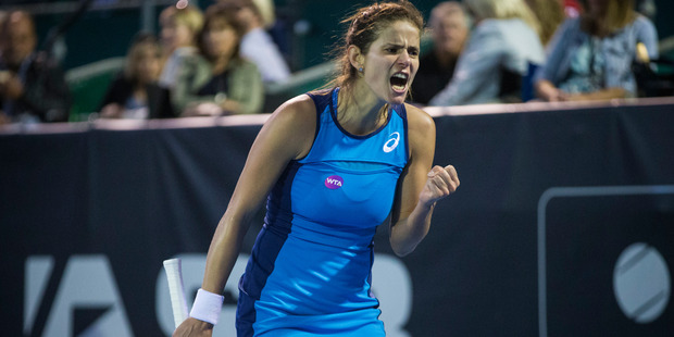 Julia Goerges of Germany beats Caroline Wozniacki of Denmark in the quarter-finals of the ASB Classic tennis tournament held at the ASB Tennis Arena, Auckland. Photo / Photosport.nz