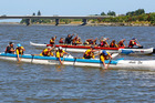 The Whanganui Awa Paddlers' intermediate boys and (rear) midget boys practise at the Putiki Slipway. PHOTO/ BEVAN CONLEY