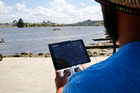 Alex Mcleod uses a drone to track waka ama paddlers and monitor the performance as part of training. Photo / Bevan Conley