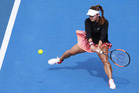 American Lauren Davis on her way to winning one of the ASB Classic semifinals yesterday. Photo / Nick Reed